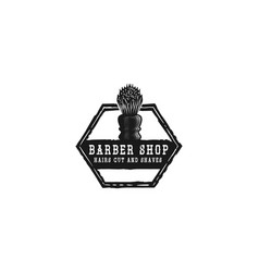 shaving brush hand drawn barber shop logo designs vector image