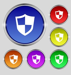 Shield icon sign Round symbol on bright colourful vector