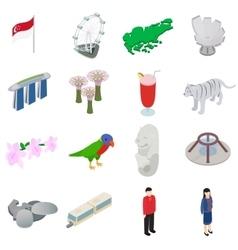 Singapore icons set isometric 3d style vector image