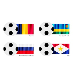 Soccer Ball of Romania Rwanda Russia and Saba vector