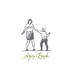 son mother child parent angry scold concept vector image