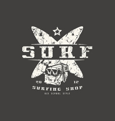Surfing shop emblem graphic design for t-shirt vector