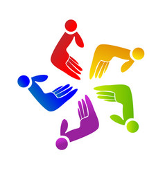 team of abstract hands icon vector image