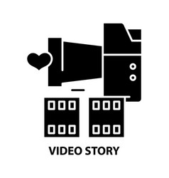 Video story icon black sign with editable vector