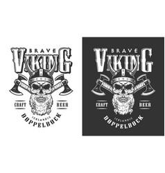 Viking skull in horned helmet emblem vector
