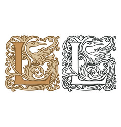 vintage initial letter l with baroque decoration vector image