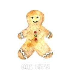 Watercolor gingerbread man vector