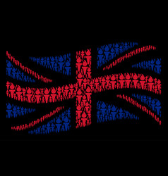 Waving british flag collage of freedom fire torch vector