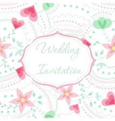 Wedding invitation mint and rose colors vector image