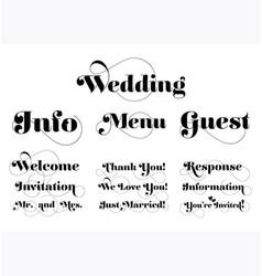 Wedding invitation wording calligraphy vector