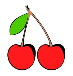 a couple of red cherries icon icon cartoon vector image vector image
