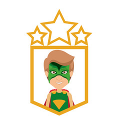 Colorful silhouette with half body male superhero vector