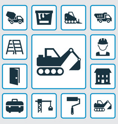 construction icons set collection of truck paint vector image vector image