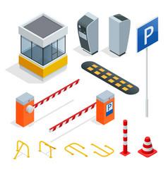 isometric parking isometric elements set icons vector image vector image
