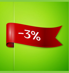 red ribbon with text three percent for discount vector image vector image