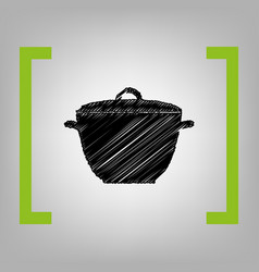 saucepan simple sign black scribble icon vector image vector image