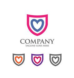 shield logo with love heart abstract logo vector image