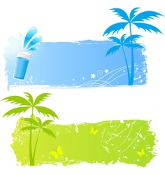 two grungy palms banners vector image