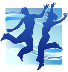 dancing people in blue vector image