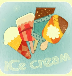 Ice cream retro card vector image vector image