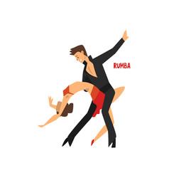 professional dancer couple dancing rumba pair of vector image vector image