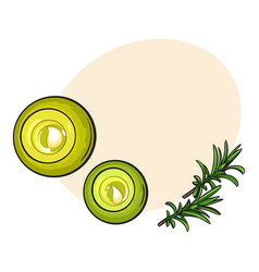 Top view set of round candles spa salon vector