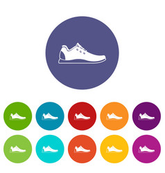athletic shoe set icons vector image