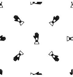 baseball glove award pattern seamless black vector image