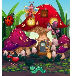 Different insects living in the mushroom house vector image vector image