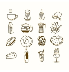 Food cafe set Morning breakfast lunch or dinner vector image