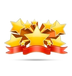 Gold stars with red ribbon space for your text vector image vector image