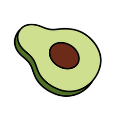 Half avocado vegetable healthy food vector