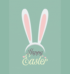 Happy easter with bunny ears mask vector