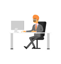 Indian businessman working on computer vector