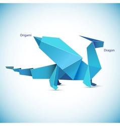 a blue origami dragon figure vector image vector image