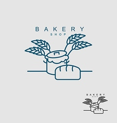 Bakery shop logo Pan with dough Bread and wheat vector image