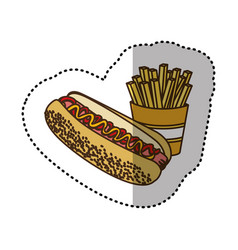 color hot dog and fries french icon vector image vector image