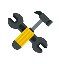 crossed wrench and hammer icon flat style vector image