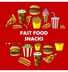 Fast food snacks label for menu card cover vector image