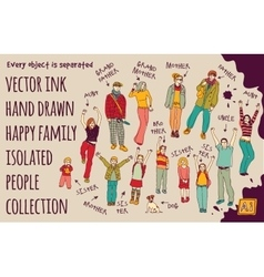 Ink hand drawn family isolated people set vector image vector image