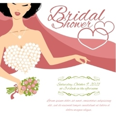 Invitation card with bride holding flowers vector image vector image