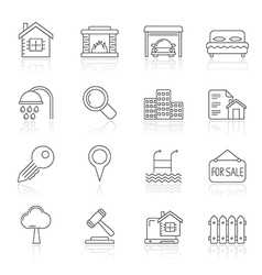 Line Realistic Real Estate icons vector image