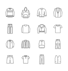 Men clothing icons in thin line style vector image