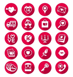 Valentines day flat color icons vector image