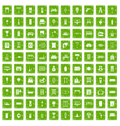 100 home icons set grunge green vector
