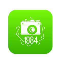 1984 photo camera icon green vector image