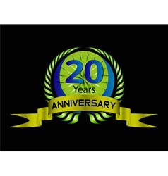 20 years Anniversary green label with ribbon vector image