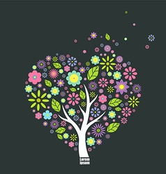 Abstract heart-shaped tree vector