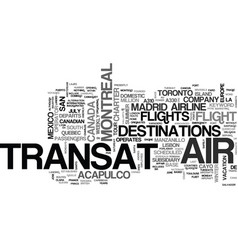 Air transat text word cloud concept vector