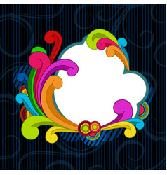 background with colorful scrolls and copyspace vector image